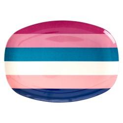 Piatto ovale fantasia a righe rosa e blu