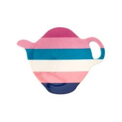 Vassoio per filtro del tè a righe rosa e blu