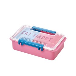 "Lunchbox in plastica rosa con scritta ""Eat Happy"""