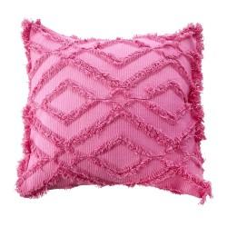 Cuscino rosa con frange