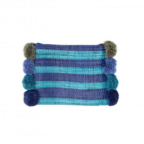 Pochette in rafia blu a righe con pon pon