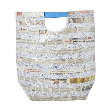 Borsa plastificata blu fantasia foglio di giornale