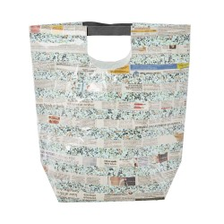 Borsa plastificata fantasia foglio di giornale con manici