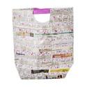 Borsa plastificata magenta fantasia foglio di giornale