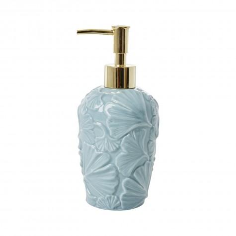 Dispenser sapone blu con dettagli in rilievo
