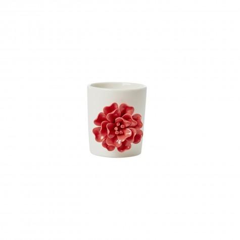 Barattolo multiuso in porcellana con fiore rosso