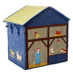 Cesta porta giochi in rafia blu a tema fattoria