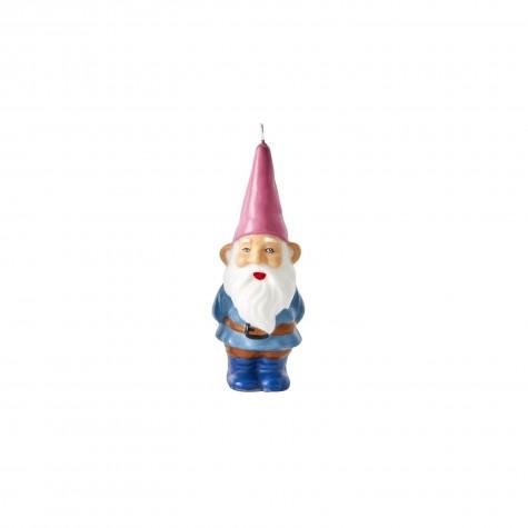Candela a forma di gnomo con cappello rosa