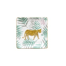 Vassoio di ceramica con fantasia tropicale