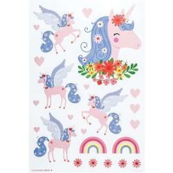 Stickers adesivi da muro fantasia pony e arcobaleno