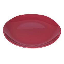 Piatto piano in ceramica rosso ciliegia