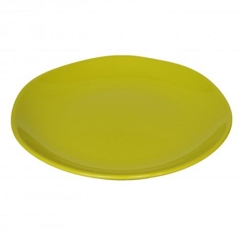 Piatto piano in ceramica verde acido