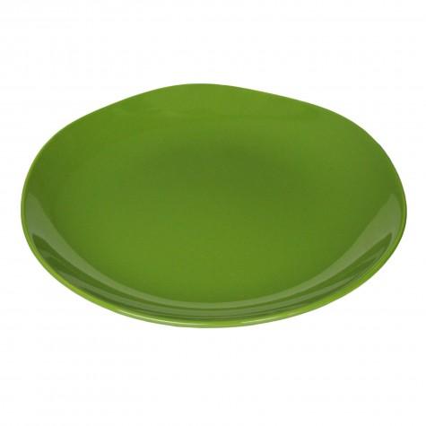 Piatto piano in ceramica verde muschio