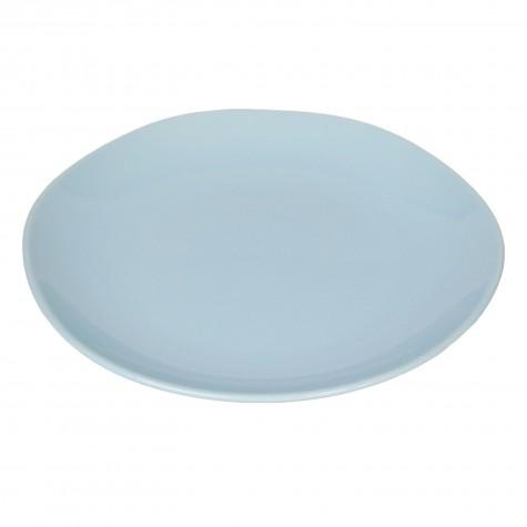 Piatto piano in ceramica azzurro chiaro