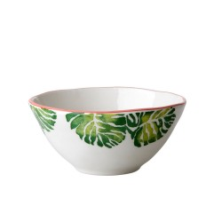 Ciotola in ceramica fantasia foglie tropicali