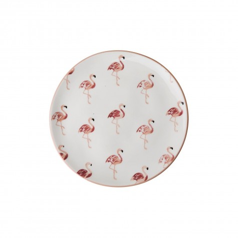 Piatto dessert in ceramica fantasia flamingo