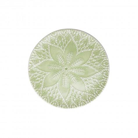 Piatto dessert in ceramica con decorazione in rilievo