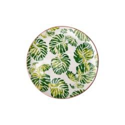 Piatto dessert in ceramica fantasia foglie tropicali