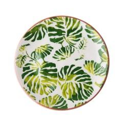 Piatto piano in ceramica fantasia foglie tropicali