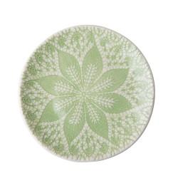Piatto piano in ceramica con decorazione in rilievo