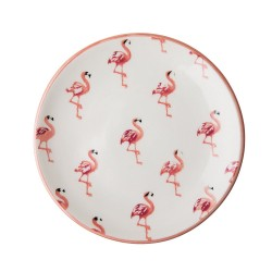 Piatto piano in ceramica fantasia Flamingo
