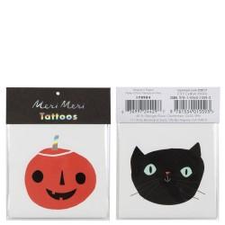 Tatuaggi gattino nero e zucca di Halloween