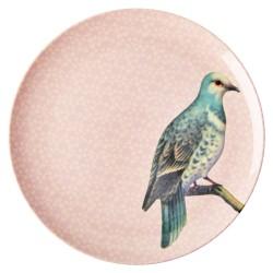 Piatto piano rosa pastello fantasia uccellino
