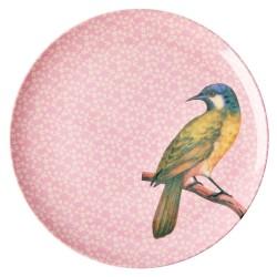 Piatto piano rosa fantasia uccellino