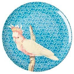 Piatto piano azzurro fantasia uccellino
