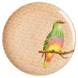 Piatto piano corallo fantasia uccellino