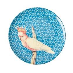 Piatto frutta azzurro fantasia uccellino