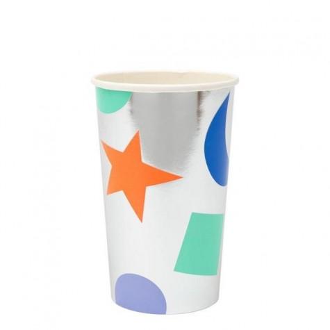 Bicchieroni di carta argento con forme colorate