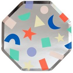Piatti di carta argento con forme colorate