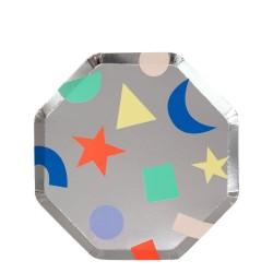 Piattini di carta argento con forme colorate