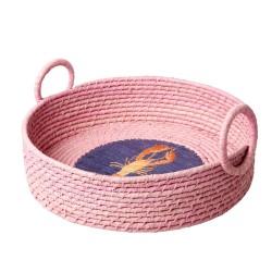 Cestino per il pane in rafia rosa