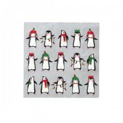 Tovaglioli di carta natalizi con fantasia pinguini