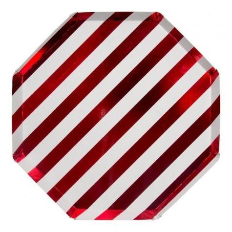 Piatti di carta a righe rosse