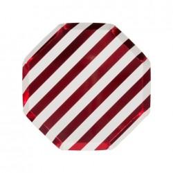 Piattini di carta a righe rosse
