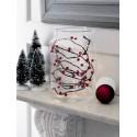 Ramo di luci natalizie con bacche rosse