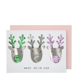 Biglietto di auguri di Natale con renne glitter