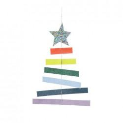 Biglietto di auguri di Natale con alberello Rainbow