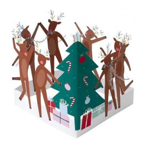 Biglietto di auguri natalizi con renne e albero
