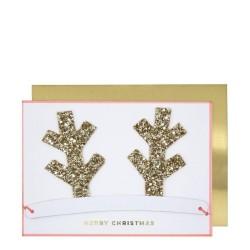 Biglietto di auguri natalizi con corna staccabili