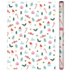 Rotolo di carta regalo fantasia icone di Natale