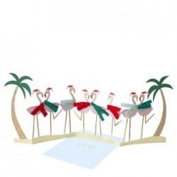 Biglietto di auguri natalizi a fisarmonica Flamingo