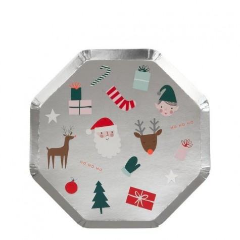 Piattini di carta con icone natalizie