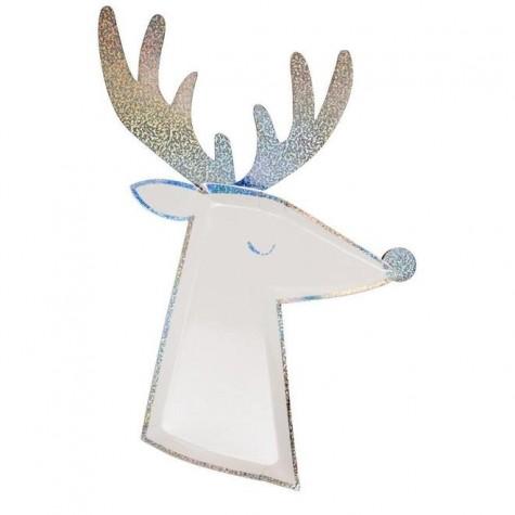 Piatti di carta luccicanti a forma di renna