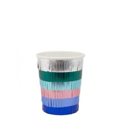 Bicchieri di carta con frangette multicolor