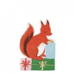 Tovaglioli a forma di scoiattolo con regali
