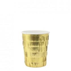 Bicchieri di carta con frangette dorate